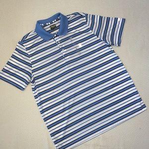 Izod Golf Blue Striped Polo Shirt LARGE NWOT